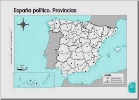 Mapa mudo político España. Provincias.