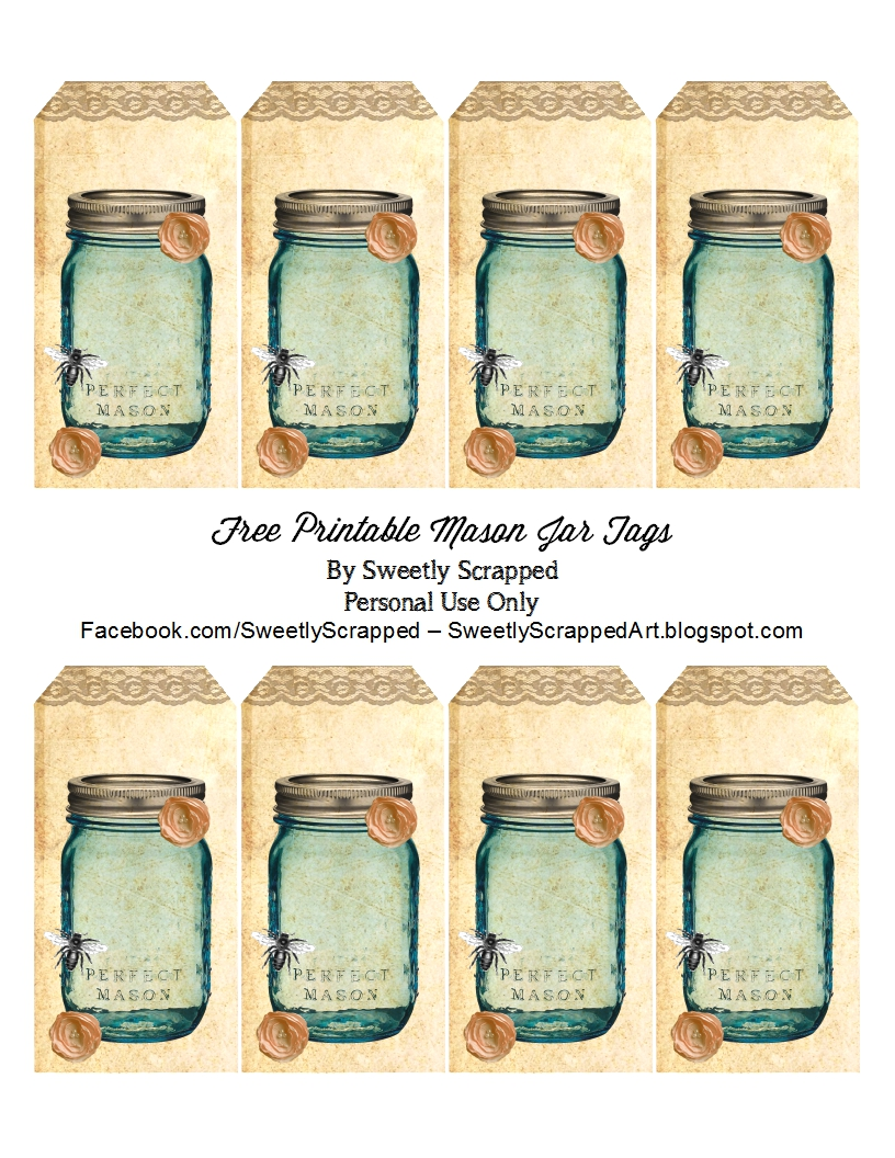 sweetly scrapped free printable blue mason jar tags with bee and flowers. Black Bedroom Furniture Sets. Home Design Ideas