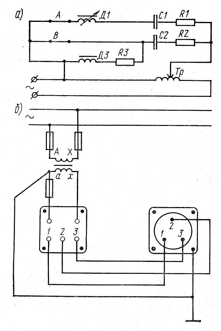 Принципиальная электрическая схема и схема включения частотомера в сеть частотой 50 Гц