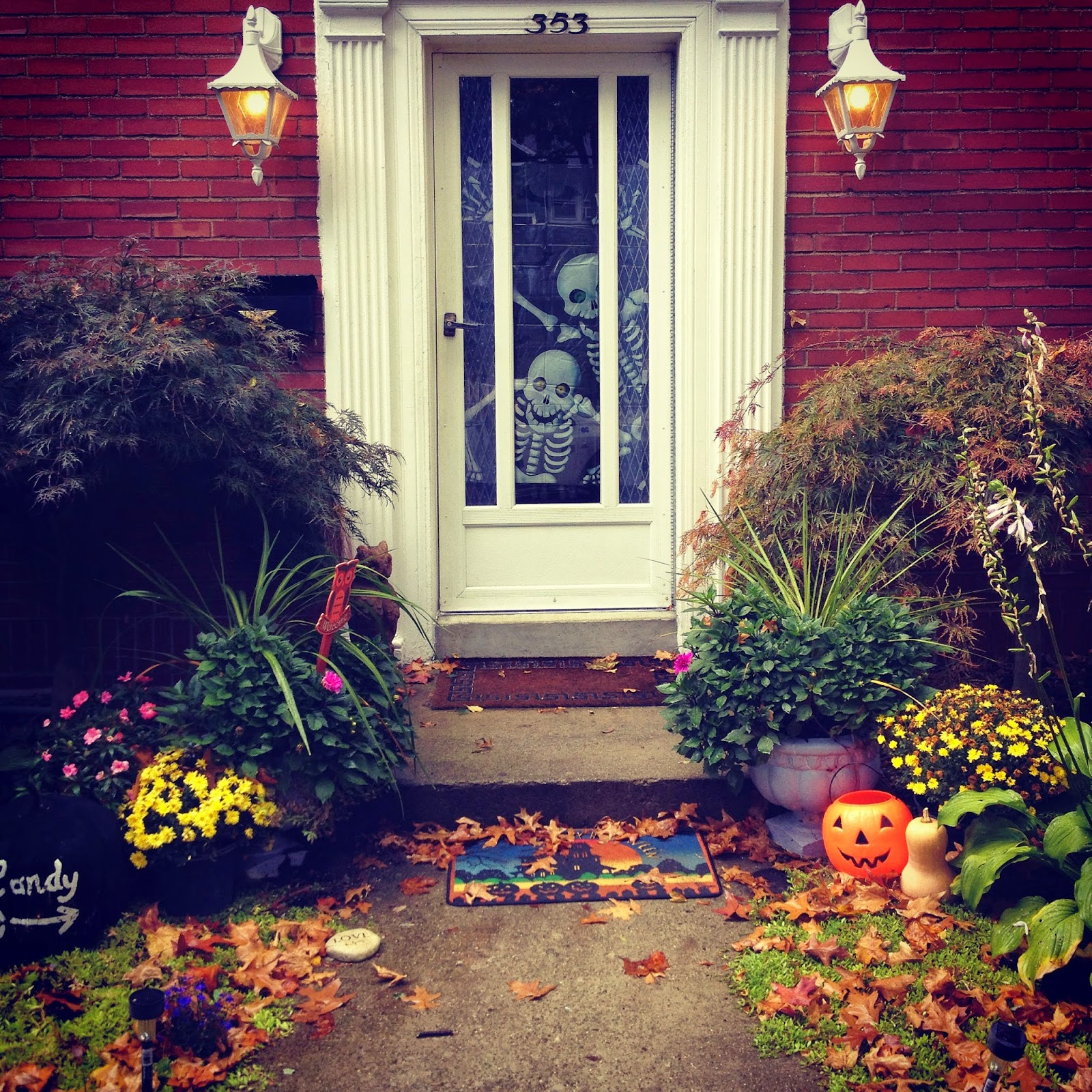 Decorating the Front Door for Halloween