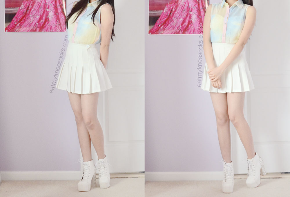 Full outfit photos of this pastel grunge/ulzzang-inspired spring outfit, featuring the Romwe pastel abstract watercolor blouse, white pleated AA tennis skirt, and spiked white booties.