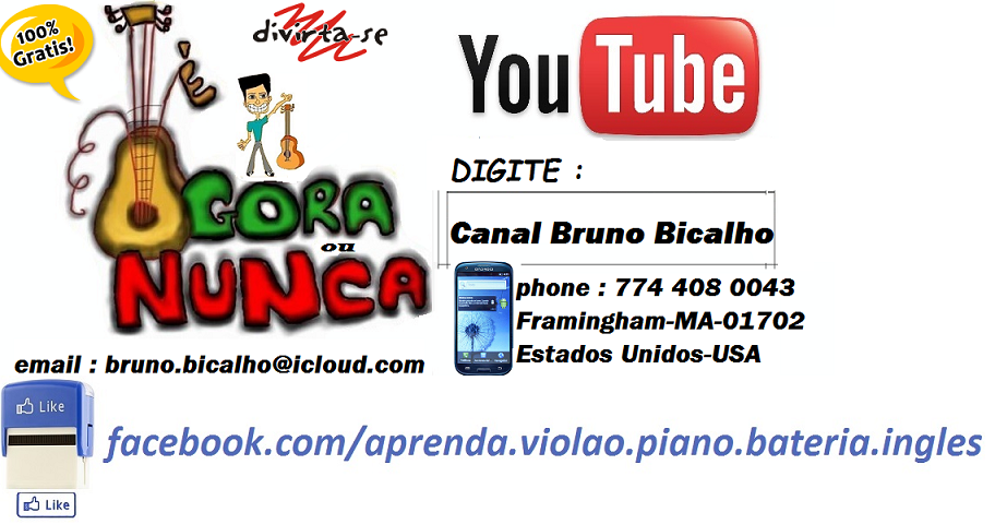 Aulas de violão, piano (teclado), bateria, contrabaixo e inglês com Bruno Bicalho.