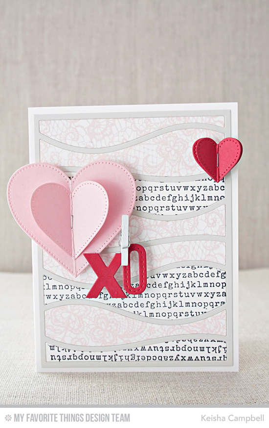 Hearts XO Card by Keisha Campbell featuring the Snow Drifts Cover-Up, Pierced Heart STAX, By the Letters Uppercase, and Laina Lamb Design Stitched Alphabet Die-namics #mftstamps