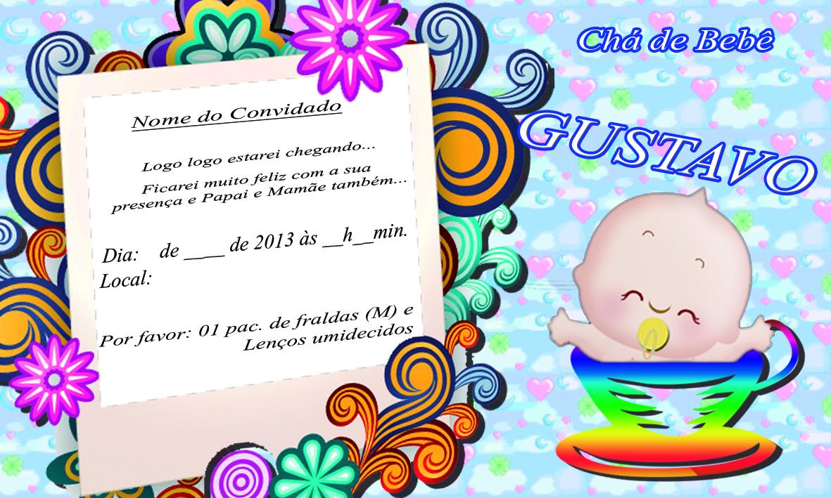 Nossa Criação Convites Chá De Bebê Gustavo