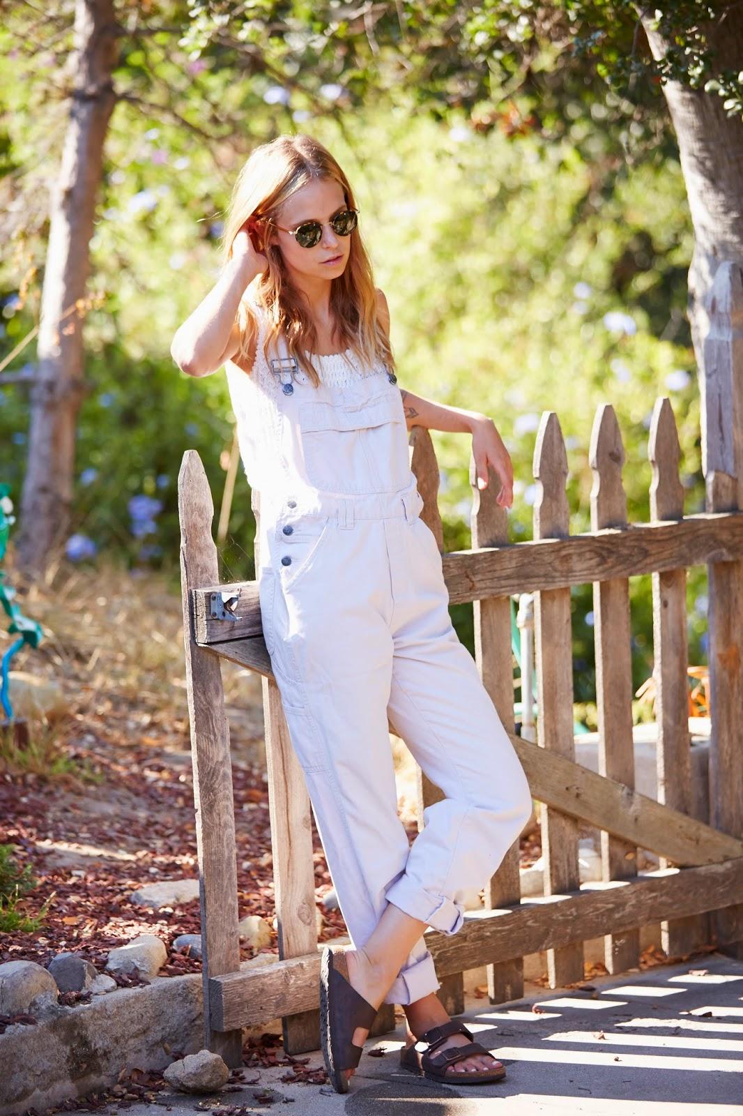 personal style blog white overalls birkenstocks Garrett leight