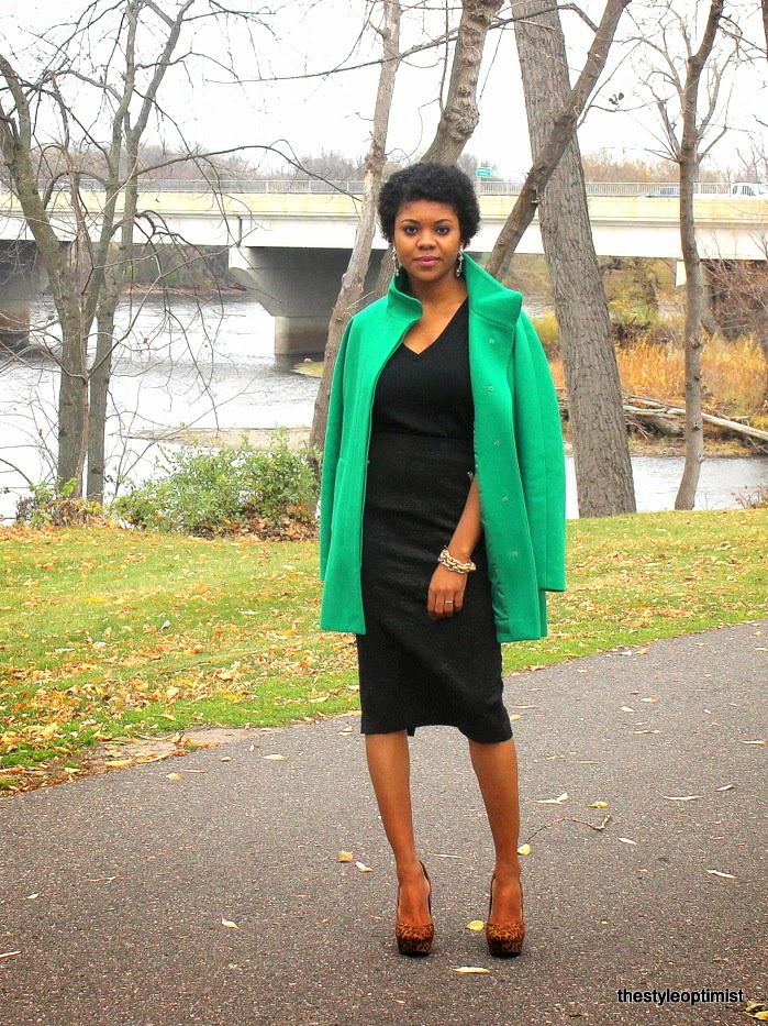 leopard and green, how to wear leopard, jcrew-city-coat, pave links bracelet, natural hair,