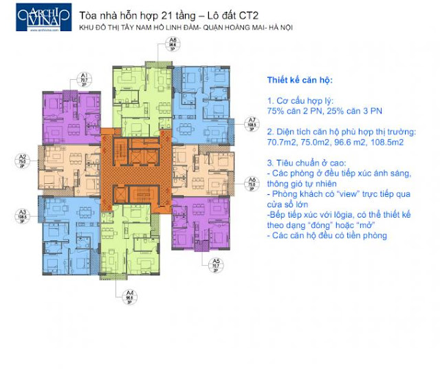 Măt bằng tổng thể chung cư b1ct2, b2ct2 tây nam linh đàm