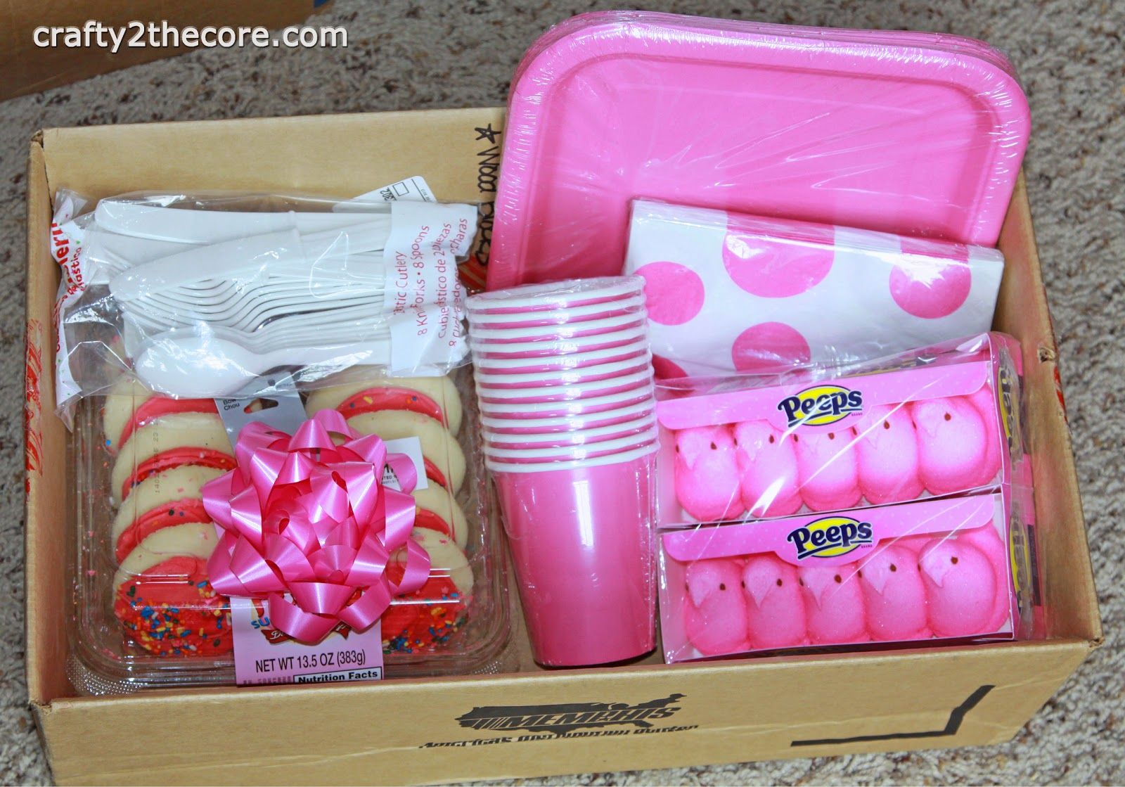 ~Before pic~Supplies for decorated Meal Box to deliver to a new mom~