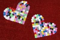 Hama beads hearts.