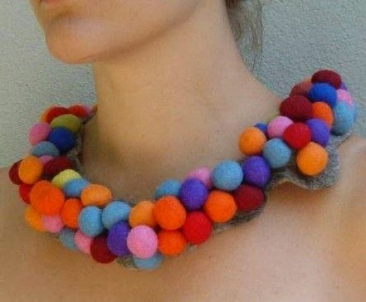 Felt Bead Necklace Bubble by Liz Clay