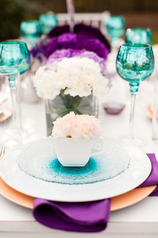 Wedology by dejanae events table setting ideas for weddng day - Purple and teal centerpieces ...