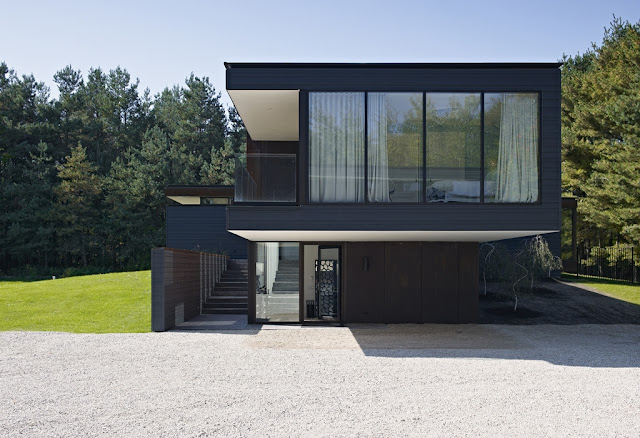 Picture of modern sustainable home as seen during the day