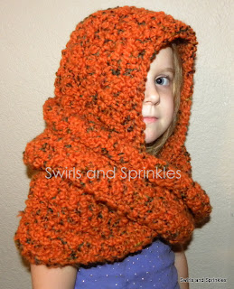 Swirls and Sprinkles: Infinity hooded scarf pattern