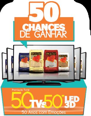 50 anos com Emoções, 50 chances de ganhar uma TV LED 3D 50'.