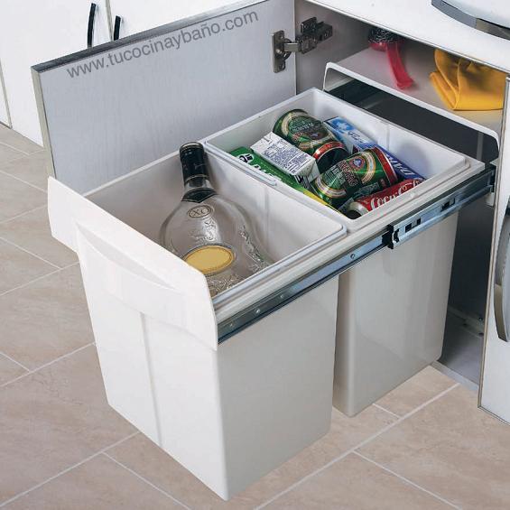 Cubo doble extraible maxus tu cocina y ba o - Cubos de basura extraibles ...