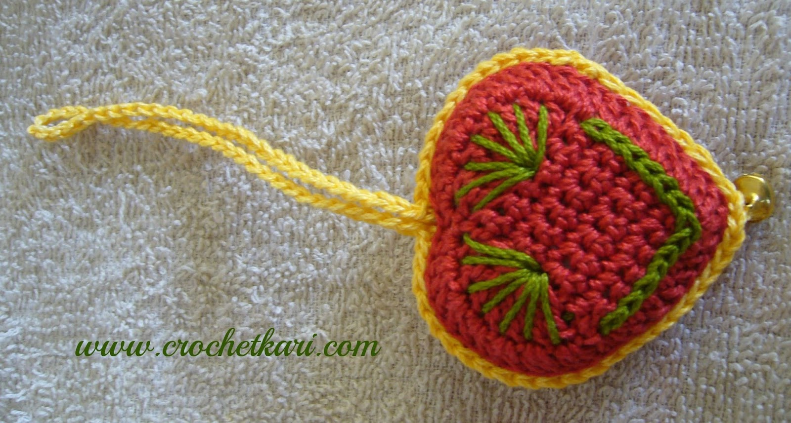 red crochet heart