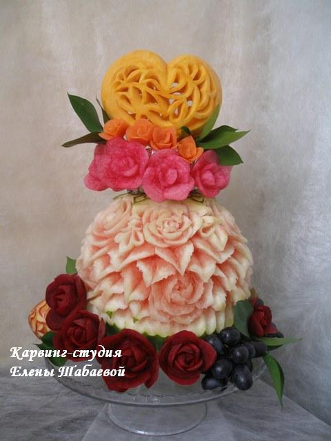 карвинг-композиция из фруктов 3D скульптура из тыквы