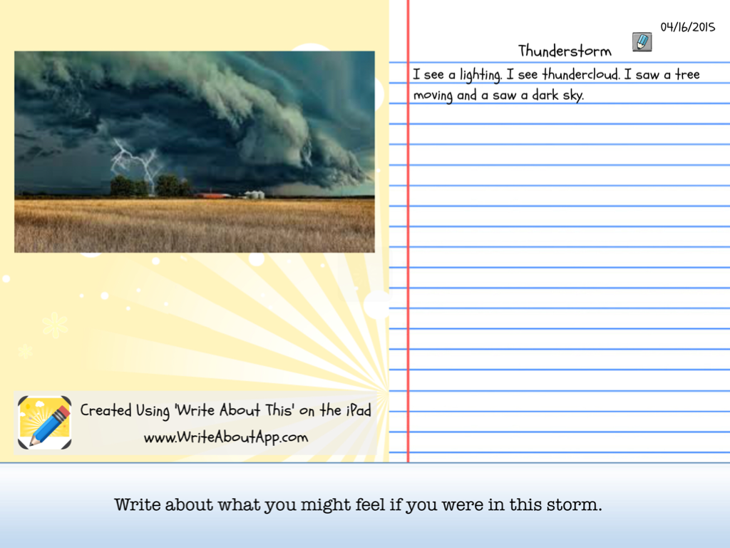 describe a thunderstorm essay Clare has chosen to describe a thunder-storm in order to present nature at its very height of power clare's poem is a worc of romanticism it plays on our senses this alludes to the religious element of clare's poem: we cannot see the approaching thunderstorm just as we cannot see god, but there is.