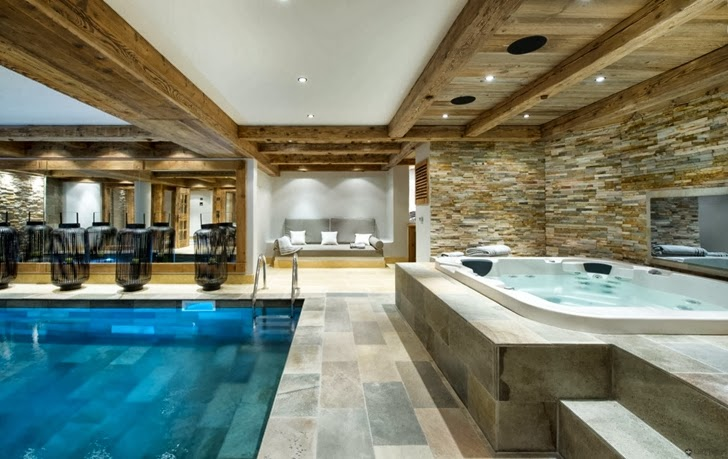 Swimming pool room in ski resort