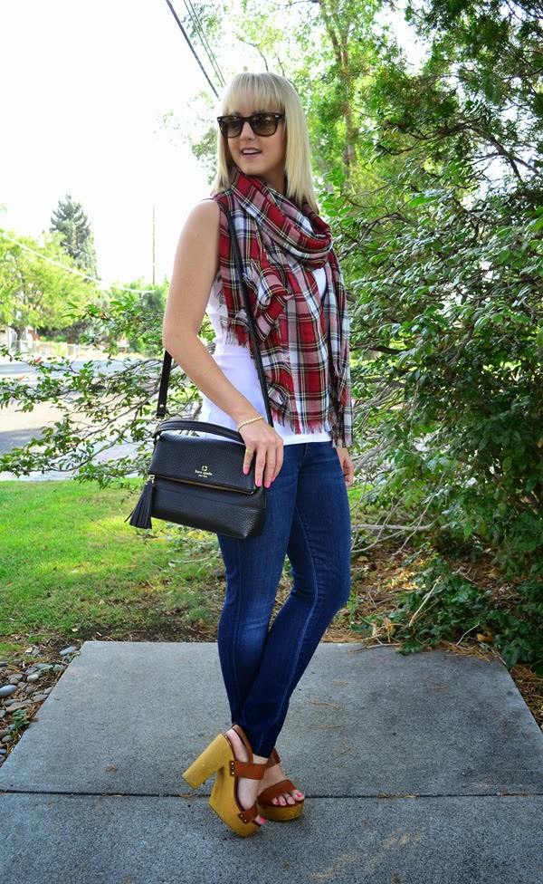 plaid scarf, fashion blogger, style blog, skinny jeans, shoemint shoes, ray-bans