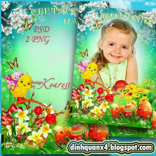 Greeting photoframe with spring flowers - Happy Easter