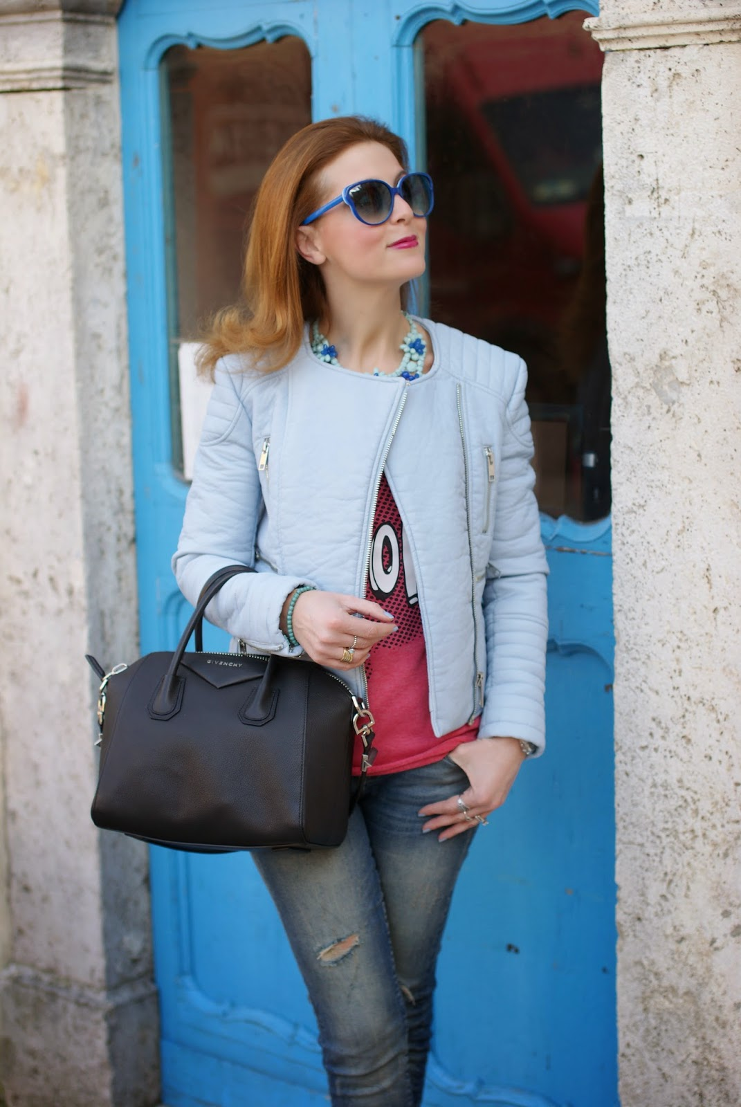 Zara pastel blue faux leather biker jacket, Givenchy Antigona bag, Marc by Marc Jacobs blue sunglasses, Fashion and Cookies, fashion blogger