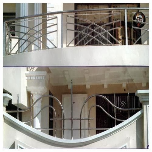 Modern kitchen trolly s s raling reling images for Design of balcony railings in india