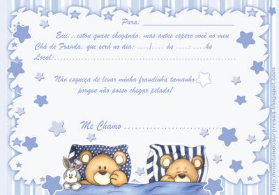 Convite Chá de Frauda Gratuito - Modelo Ursinho Soneca