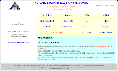 The BR1M 2014 payment will be made on February 2014. Any enquiries can