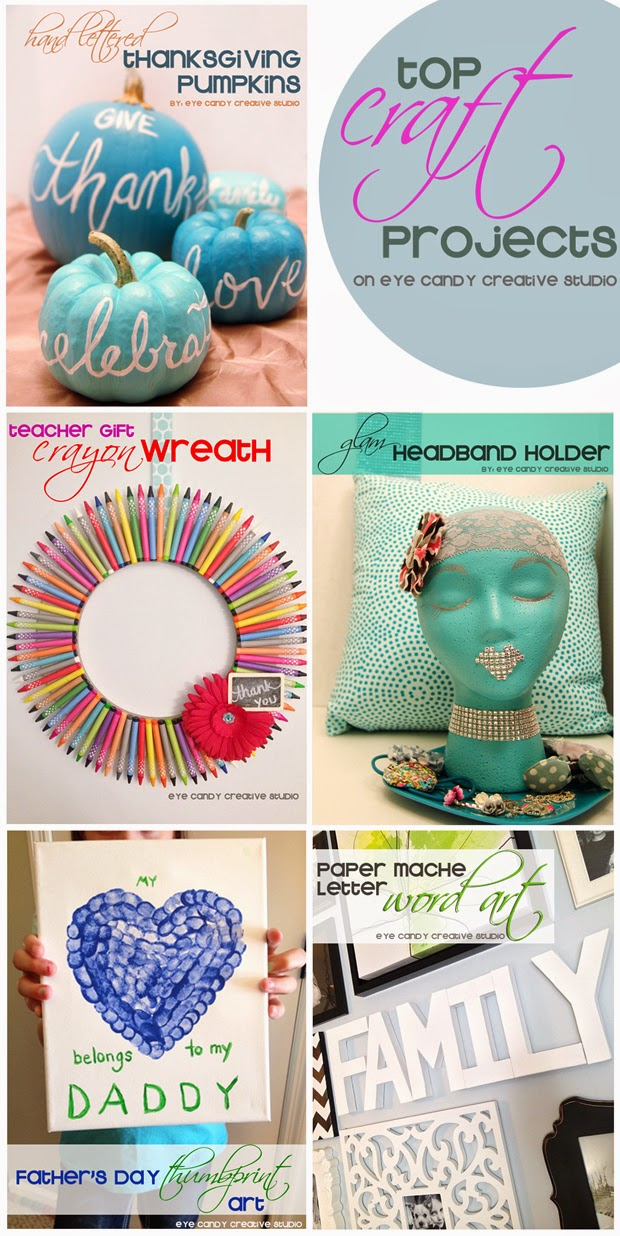 top 10 craft projects, craft project ideas, easy craft ideas, hand lettering, teacher gifts, headband holder, word art, thumbprint art