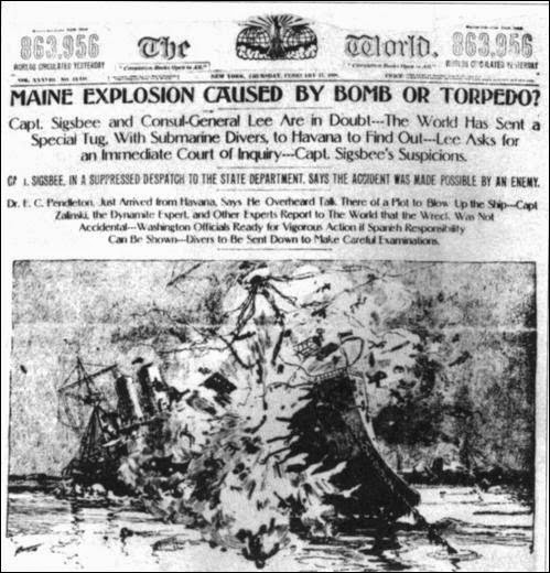 El hundimiento del Maine en la prensa americana