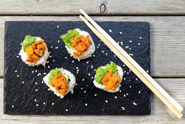 Uramaki Sushi de caviar de Erizos - Receta