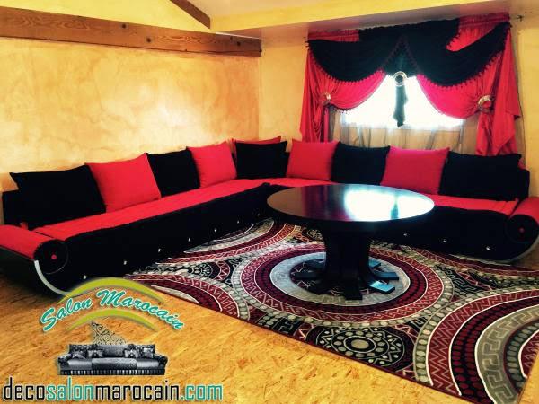 Salon marocain moderne 2014 — salon marocain noir et rouge