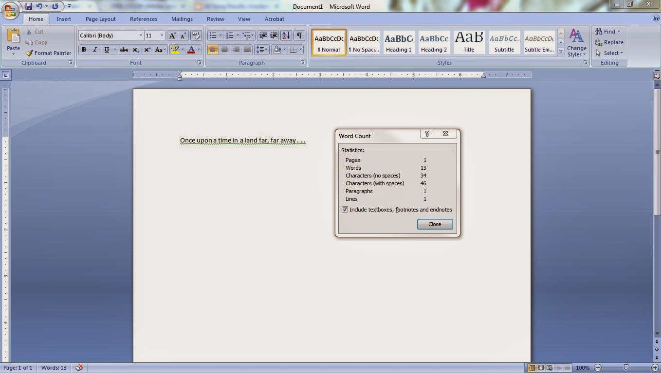 Word Count in Microsoft Word