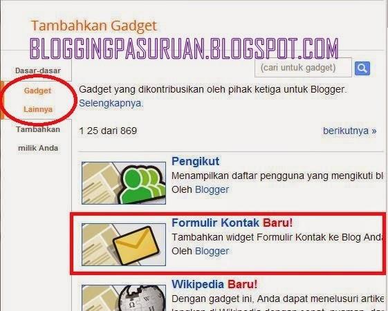 Cara Membuat Widget Contact Us pada Halaman Statis Blogspot