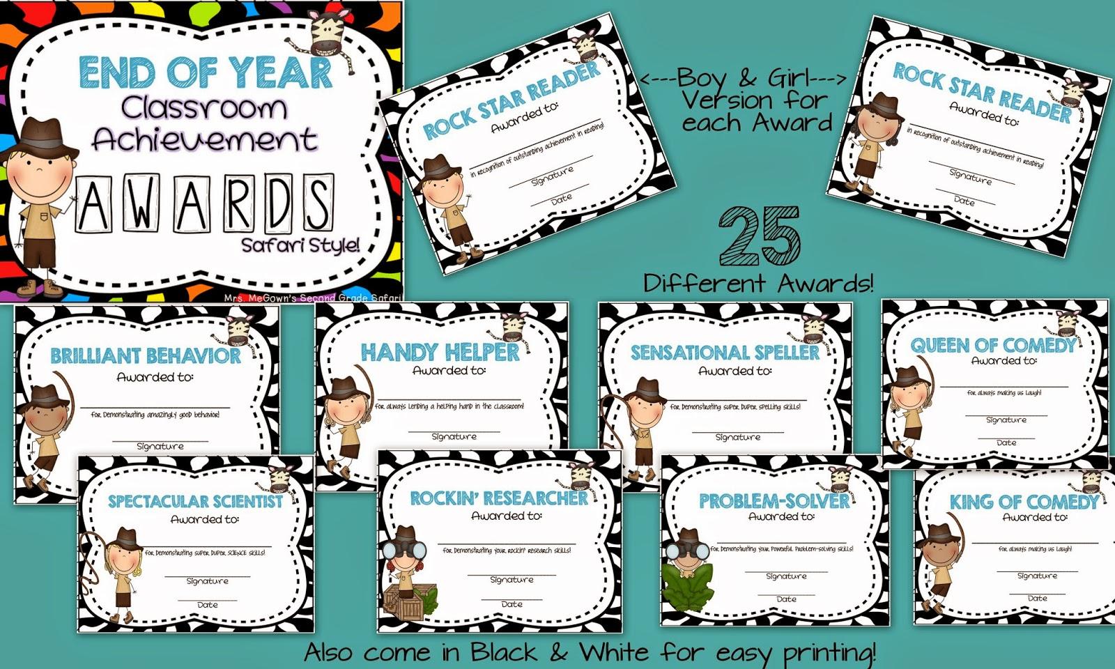 Classroom Award Ideas Elementary ~ Mrs megown s second grade safari end of year awards