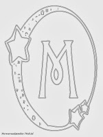 Mewarnai Gambar Huruf Alfabet M Bergaya Bulan Bintang