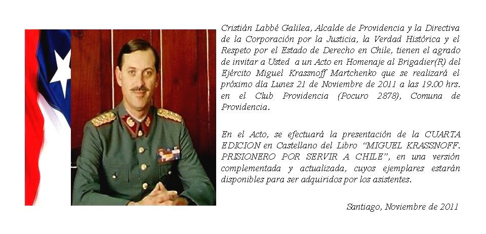 Genocidas preparan homenaje a criminal de lesa humanidad F.F.A.A. brigadier (r) Miguel Krassnoff -