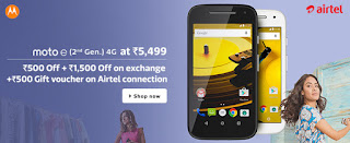 Motorola Moto E 2nd Gen 4G Rs. 5999 (Exchange) or Rs. 7499 – Flipkart