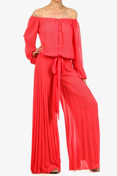 coral pleated flared jumpsuit