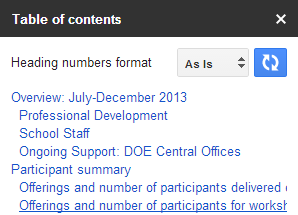 how to do table of contents google drive