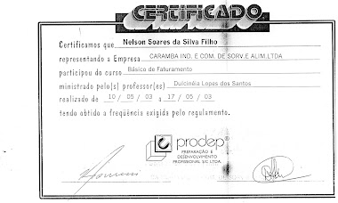 CERTIFICADO DO CURSO DE FATURAMENTO