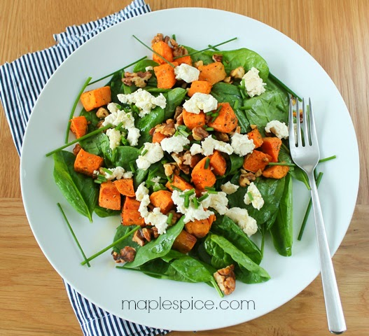Baby Spinach Salad with Sage Roasted Sweet Potato, Walnuts and Almond ...