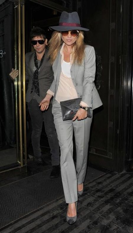 Kate Moss stylish street style grey suit with wide brim hat outfit