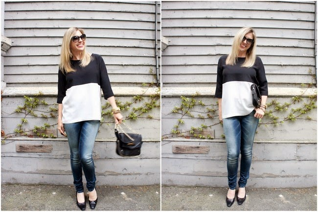 Intermix black and white top, Diesel skinzee jeans