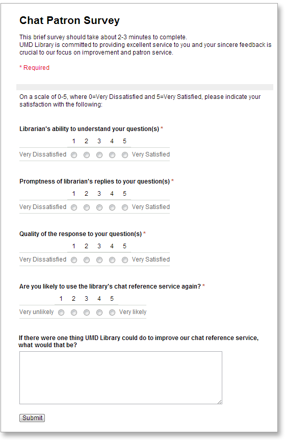 Sample Survey Form Template