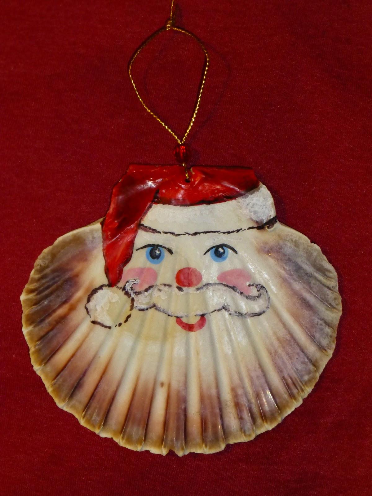 Fair isle scallop shell santa christmas ornaments - Scallop shells for crafts ...