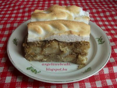 Dejós almás kenyérfelfújt recept, tojásfehérje habbal a tetején.