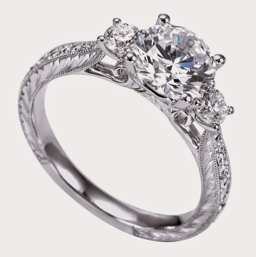 Antique Style Three Stone Diamond Engagement Ring Settings