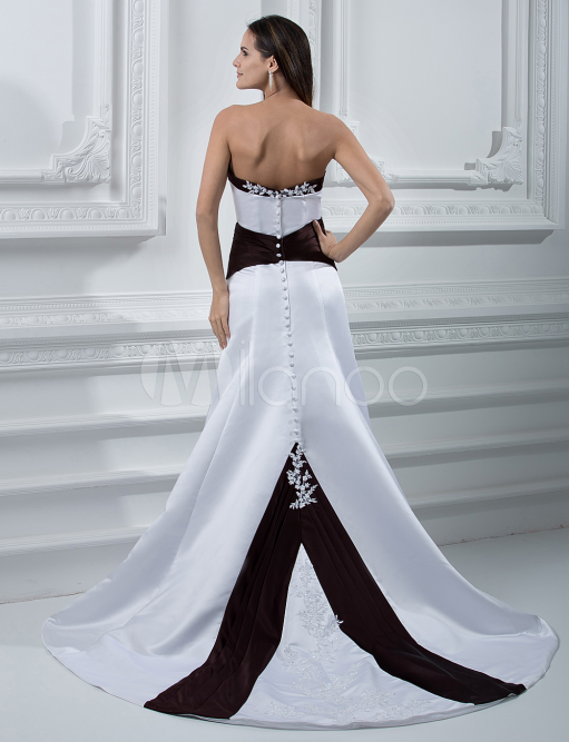 China Wholesale Dresses - White Sweetheart Sash Wedding Dress